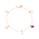 Bracelet With Icon Charms - 9k Rose Gold, 9k White Gold, Red Enamel