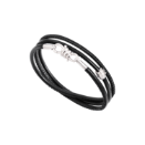 Nodo Bracelet - Silver, Black Leather